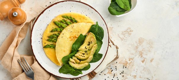 Asparagus and avocado spinach omelet for lazy keto diet